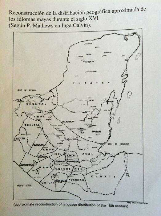 Mapa idiomas mayas sXVI según P. Mathews e Inga Calvin