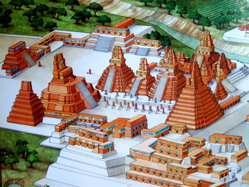 Recreación ciudad de Tikal en el Clásico Maya (200 a.C. - 900 d.C). Fuente