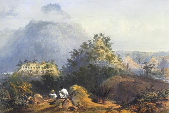 Lámina Frederick Caterwood Palenque S.XIX Fuente
