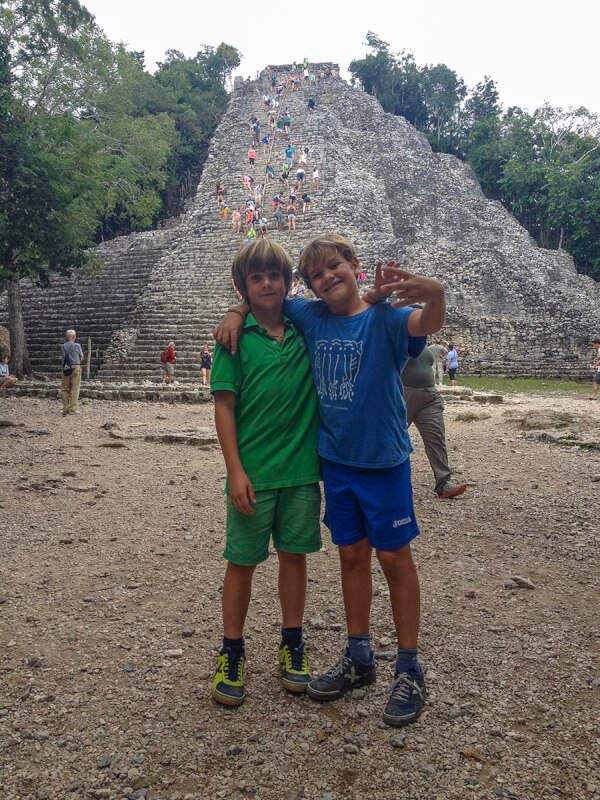 With children in Riviera Maya