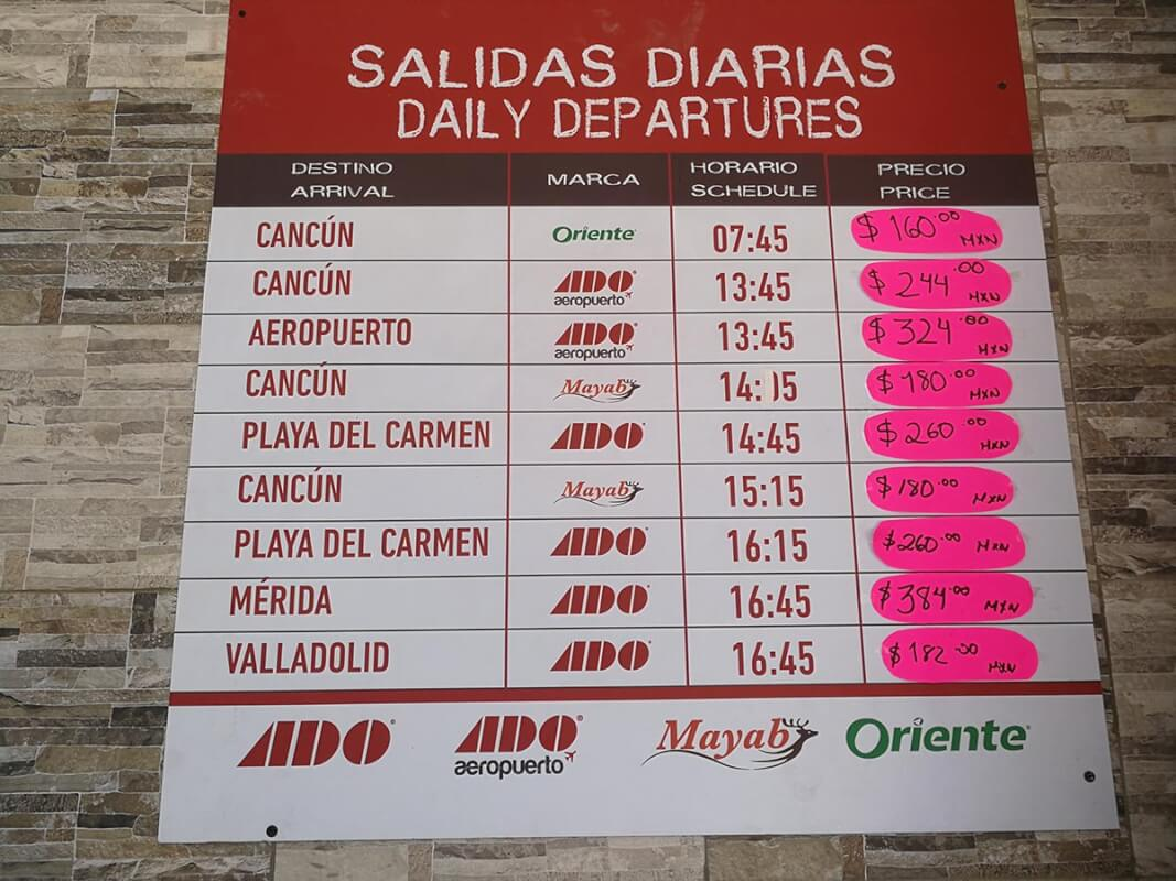 schedules and prices public transport to Holbox