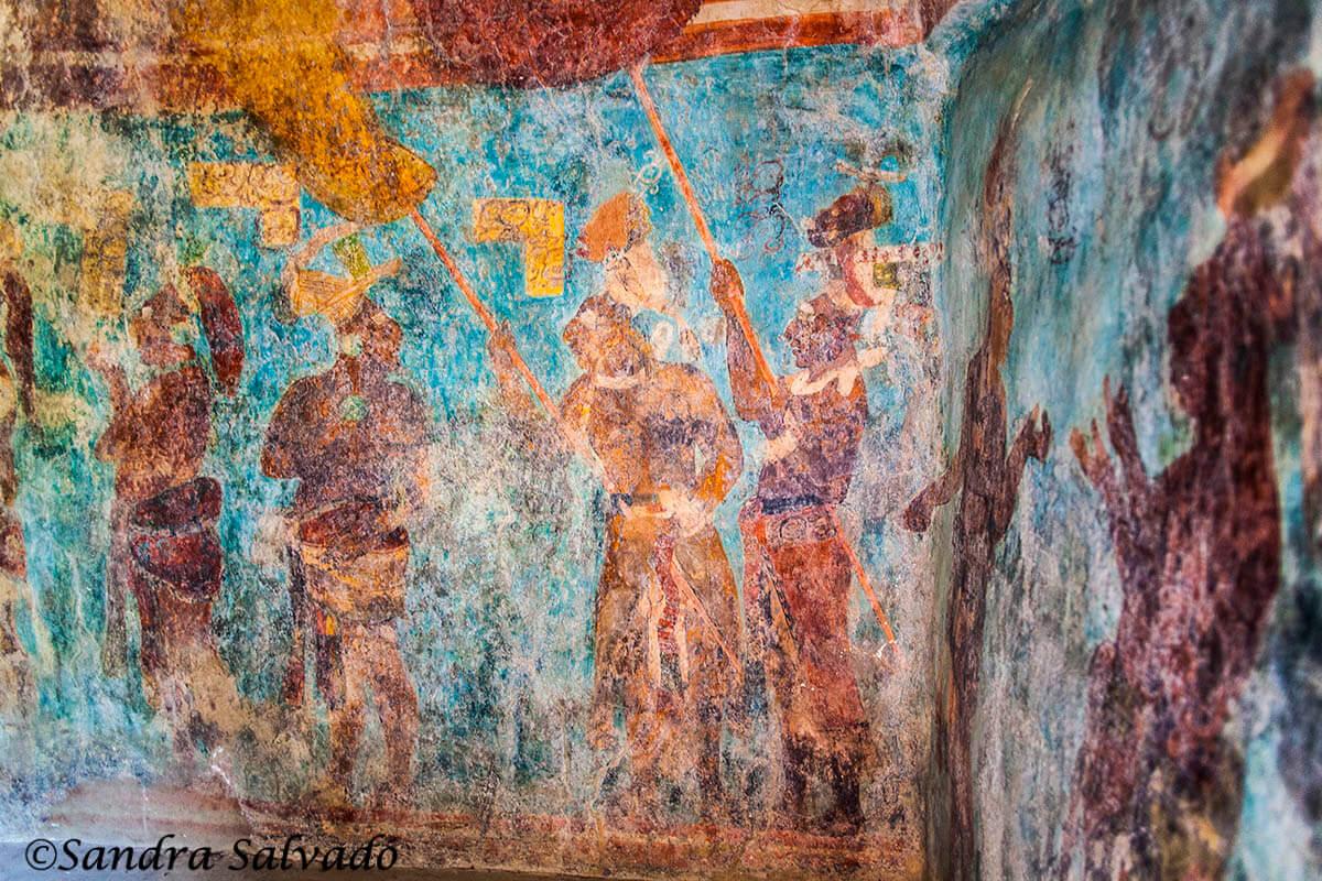 Frescos. Zona arqueológica Bonampak, Chiapas, México,.