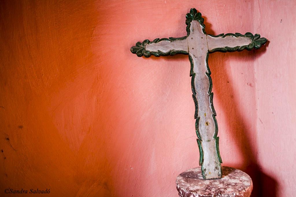 Christian cross. Sisal Valladolid Church, Yucatan, Mexico.