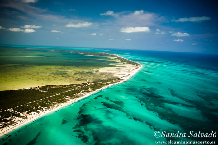 BLanca Island from the air. Quintana Roo, Mexico. Mexican Caribbean.