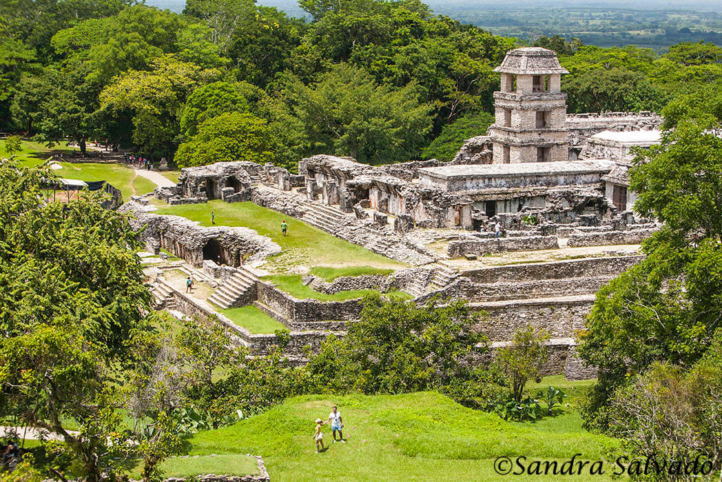 Palenque Palace seen from the Temple of the Cross. Palenque, Chiapas, Mexico.