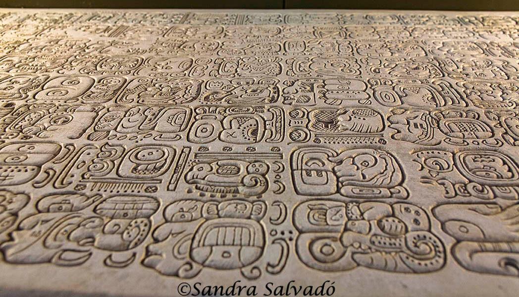 Maya epigraphy. Palenque site museum, Chiapas, Mexico.