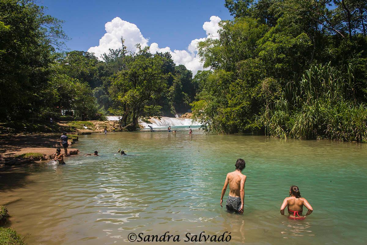 Bath in Agua Azul, Chiapas, Mexico.