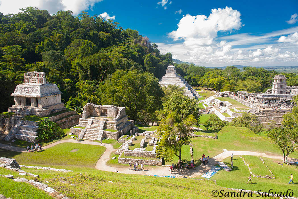 Panoramic Palenque from the Temple of the Cross. Chiapas, Mexico