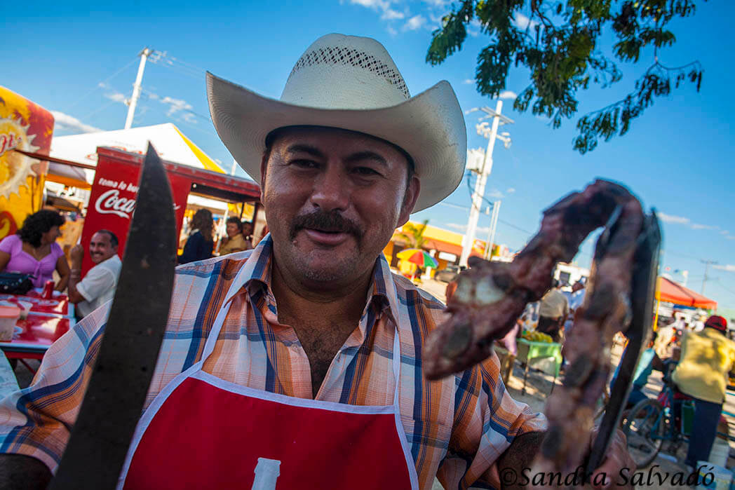 Borregos and barbecue at the fairgrounds at the cattle fair of Reyes de Tizimín. Yucatan, Mexico