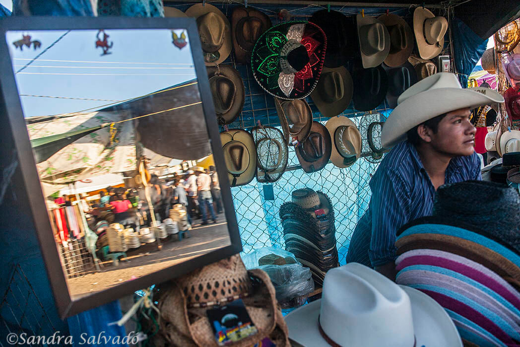 Hatters at the fairgrounds at the cattle fair of Reyes de Tizimín. Yucatan, Mexico