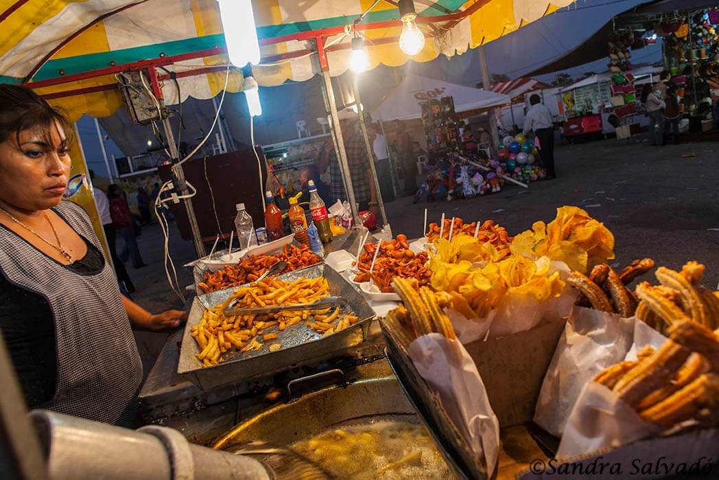 Food stalls at the fairgrounds at the Livestock Fair of Reyes de Tizimín. Yucatan, Mexico