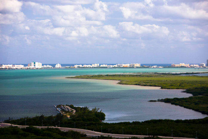 Aerial view of Nichupte Lagoon and Hotel Zone, Cancun, Quintana Roo, Mexico.