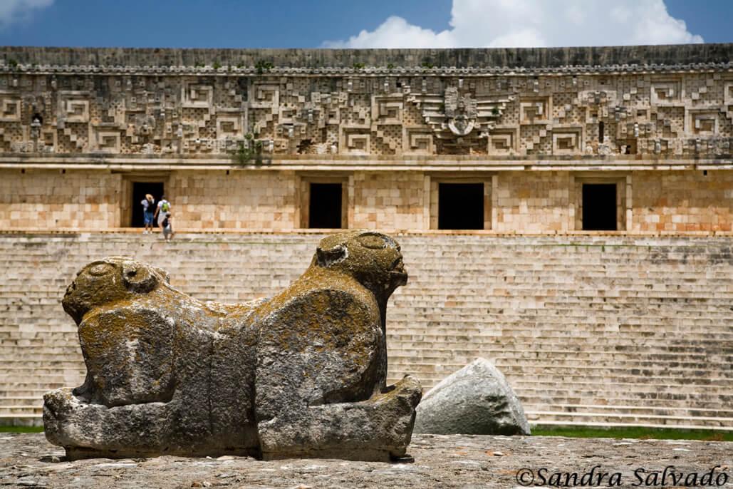 Archeological site Uxmal, Palacio del Gobernador, Yucatán, México.