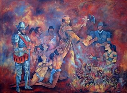 Diego de Landa destroys the idols in Mani. Leonardo Paz. Source
