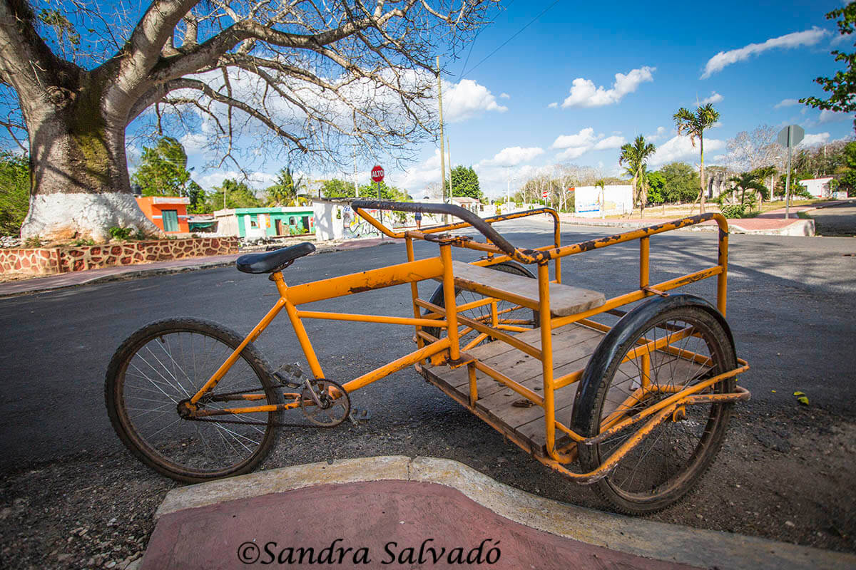 Tricycle, a very popular means of transportation in Yucatan, Uayma, Yucatan, Mexico.