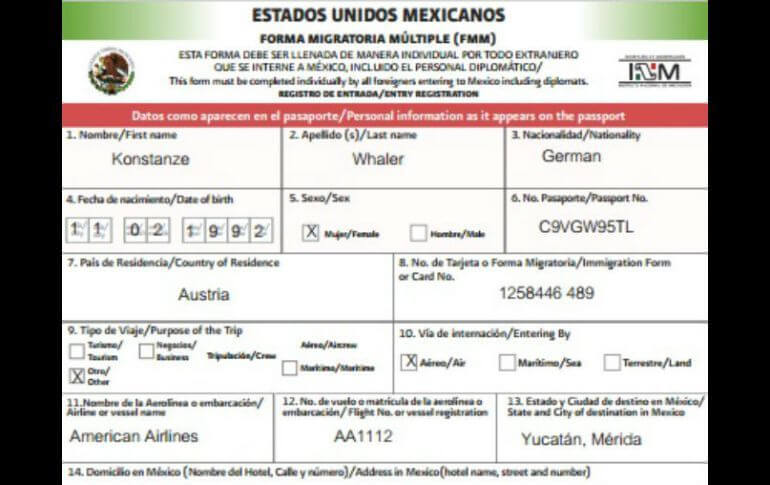 Mexico entry form