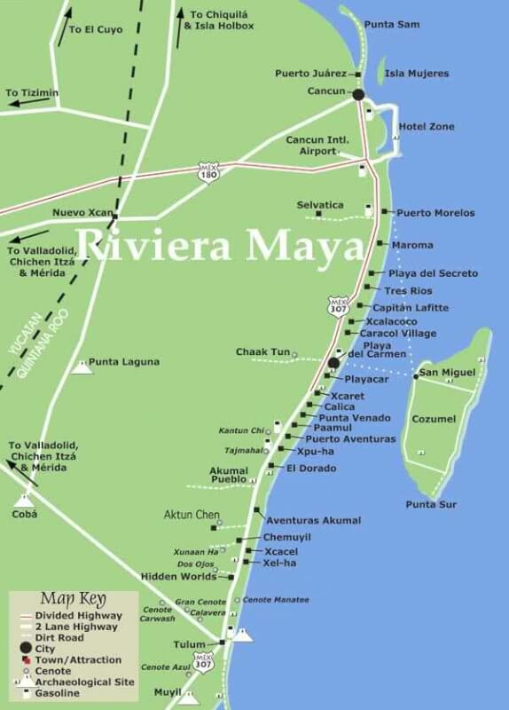 maya riviera map